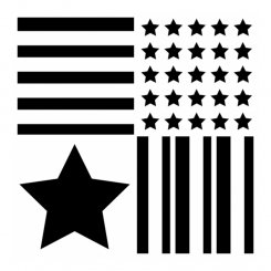 Stars and stripes 29x29 cm stencil