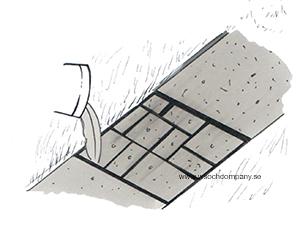 Fyll upp gjutnätet med betong